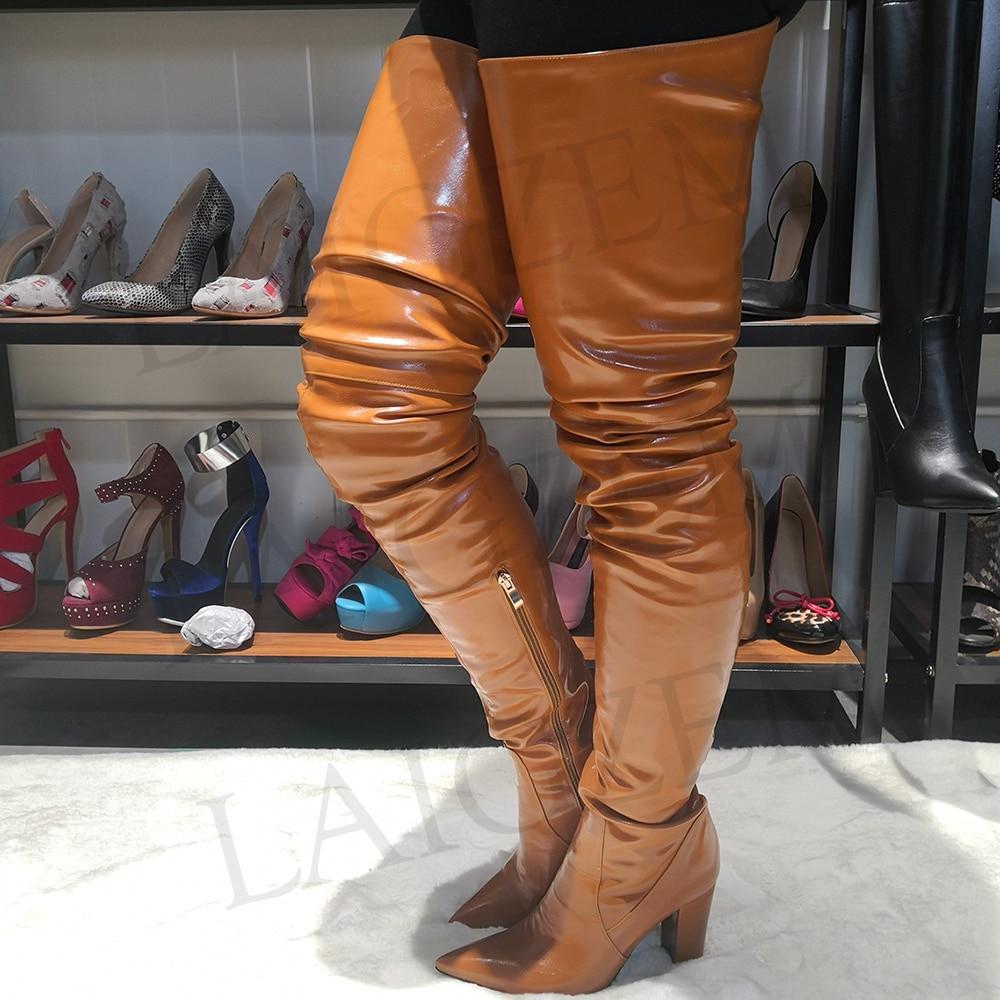 أحذية نسائية LAIGZEM بكعب سميك عريض ومرصع بسوستة وبوت طويل بسحاب وكعب عالي أحذية نسائية مقاس كبير 4-14