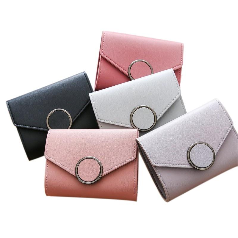 Arsmundi nuevo bolso de cuero británico Retro de las mujeres de Color sólido pequeñas carteras de moda Hasp estudiante cartera Portefeuille Femme