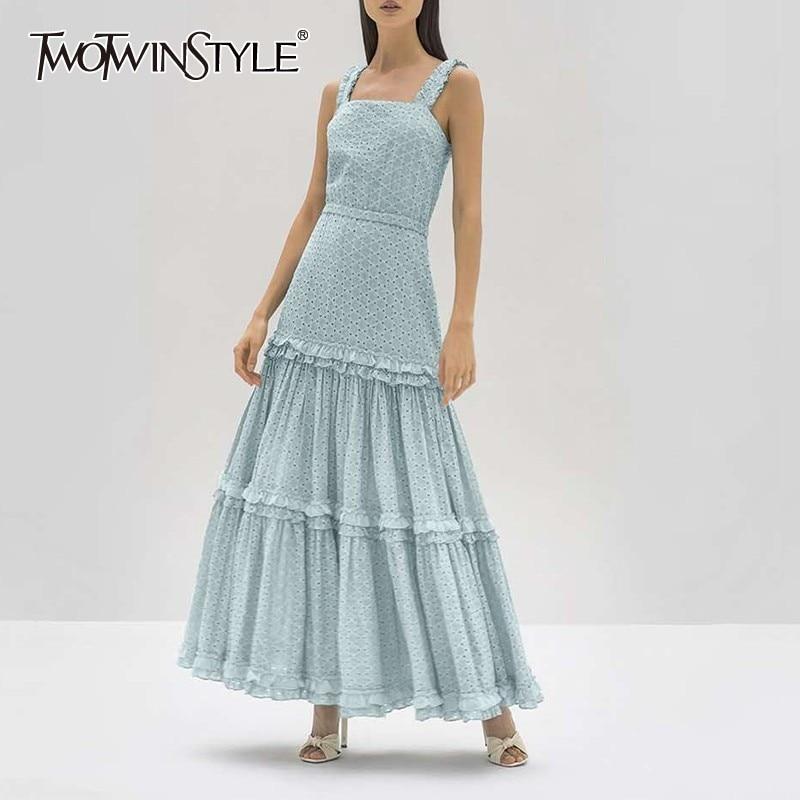 TWOTWINSTYLE Elegant Sleeveless Women Dress Off Shoulder High Waist Ruffles Long Dresses Female Fashion 2020 Summer Clothes