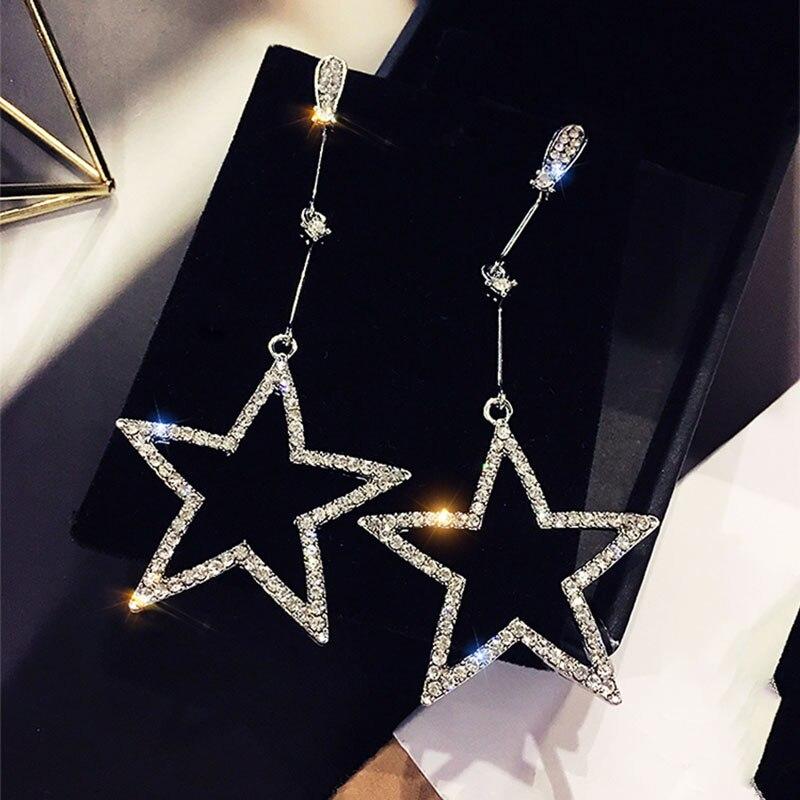 Estrela Pentagonal Brincos Coréia Do Sul Estrela Mercúrio Diamante Brincos Personalidade Simples Chao Homem Eardrop Temperamento Longo