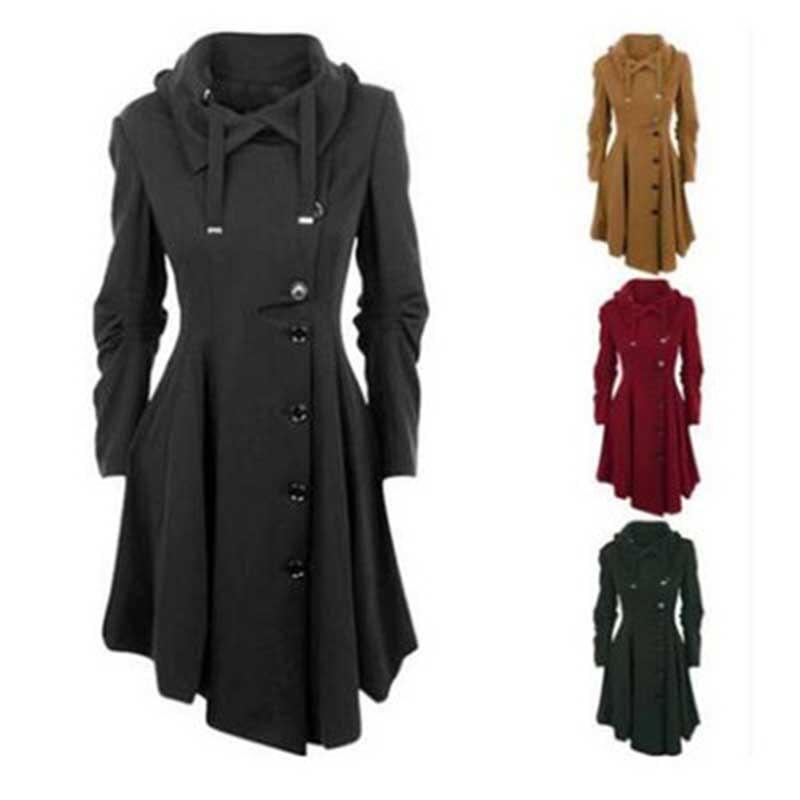Gabardina con capucha Wipalo de talla grande 5XL para mujer, abrigo de otoño invierno de manga larga, abrigo de una botonadura para mujer, abrigo rompevientos