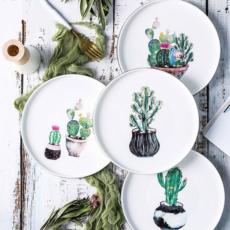 Nordic Handpainted Cactus Plates Bone China Porcelain Tableware Christmas Table Service Platter Cake Dinner Dishes Kitchen Decor