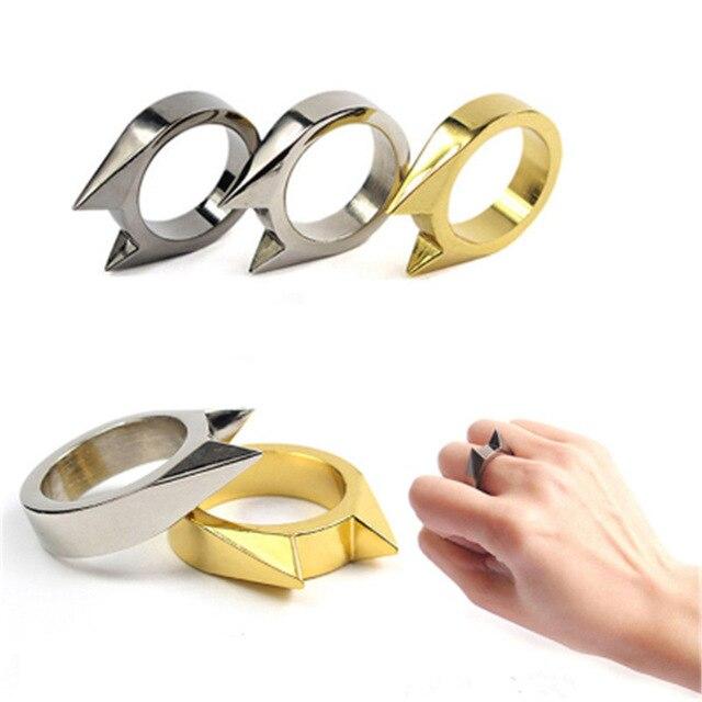 Arma anillo dedo supervivencia Seguridad lucha emergencia EDC herramienta de engranaje proteger nudillo mujeres señora defensa personal combate al aire libre