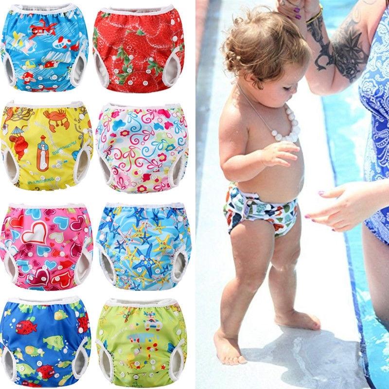Ajustable reutilizable pañal Pantalones Bebé niños niñas dibujos animados impresión verano natación pañal bañadores impermeable traje de baño pañal
