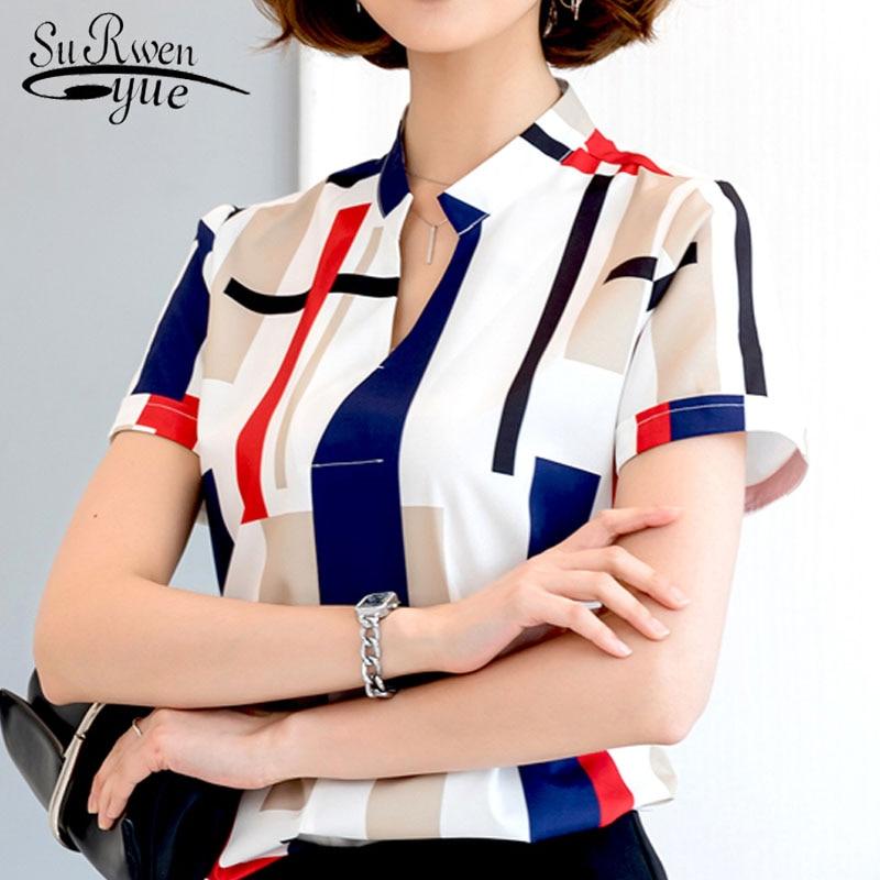 women top and blouse 2019 summer fashion V-neck Chiffon Lady short shirt Office Lady short shirt Slim fit women work top 3521 50