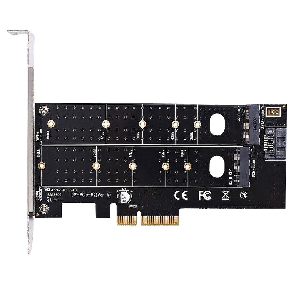 Dual M.2 Pcie adaptador M2 Ssd Nvme (M clave) o Sata (B clave) 22110, 2280, 2260, 2242 a 2230 PCI-E 3,0X4 controlador de Host Expansio