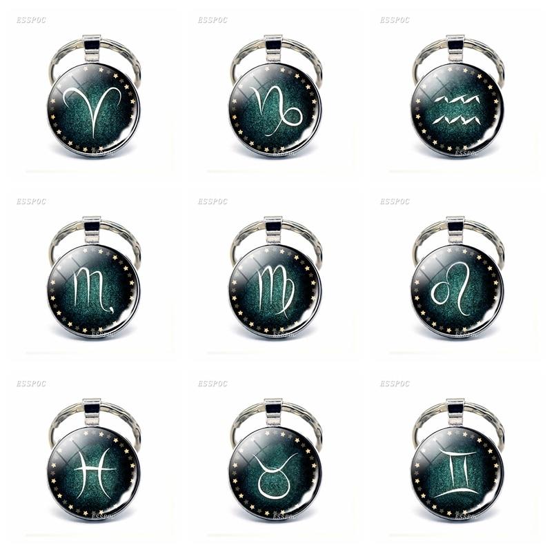 12 Constellation Leo Virgo Libra Scorpio Keychain Glass Cabochon Pendant Zodiac Sign Key Chain Rings Bag Pendant Birthday Gift