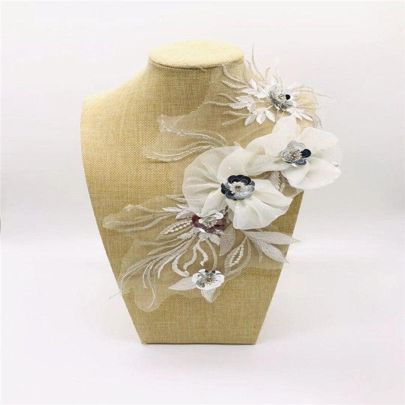 Europea de meteorito de estéreo de encaje flor cosidos a mano DIY Jeans manga corta T-Manga apliques accesorios de ropa
