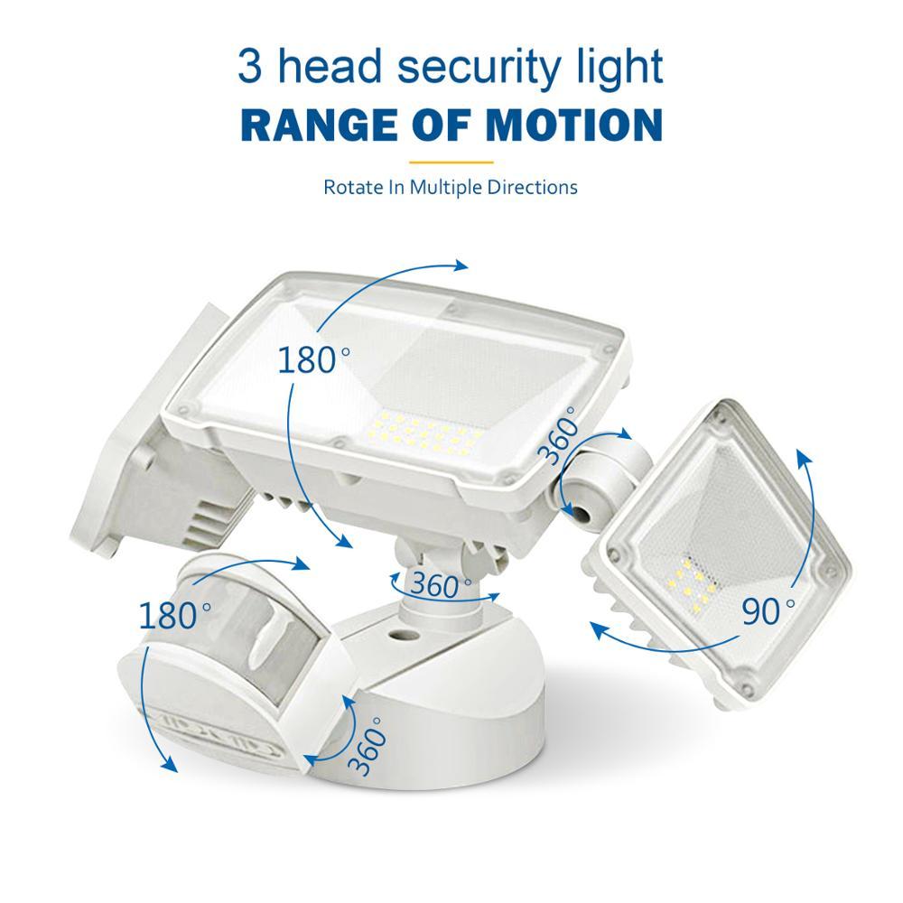 3 головки, светодиодный светильник Безопасности s, уличный светильник с датчиком движения, уличный, 42 Вт, 3000 лм, 6000k, водонепроницаемый датчик ...