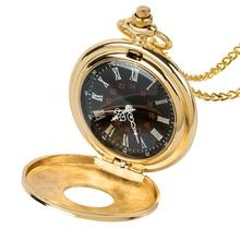 Or hommes femmes montre de poche plein Double chasseur mécanique montres de poche gravées chiffres romains or main vent Pocketwatch