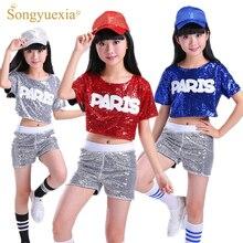 SONGYUEXIA Children Dance Costume Suit Leakage Sequins Cheerleading Hip Hop Modern Dance Costumes boy girl stage dancewear