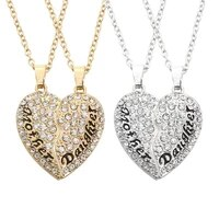 2 pcsset heart puzzle mother daughter crystal necklace for women girls send mum mothers day gifts female charm jewelry gifts