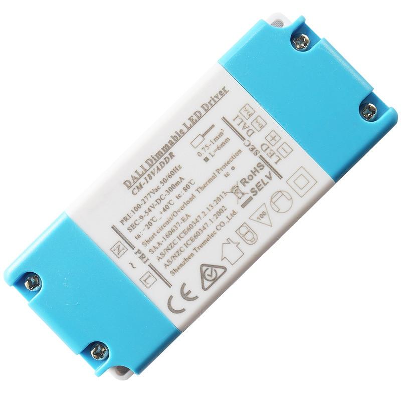 5-18W atenuación DALI transformador de controlador de led EMC LVD SELV aislamiento diseño 0.5A 9-36Vdc atenuación constante de la corriente rango 1-100%
