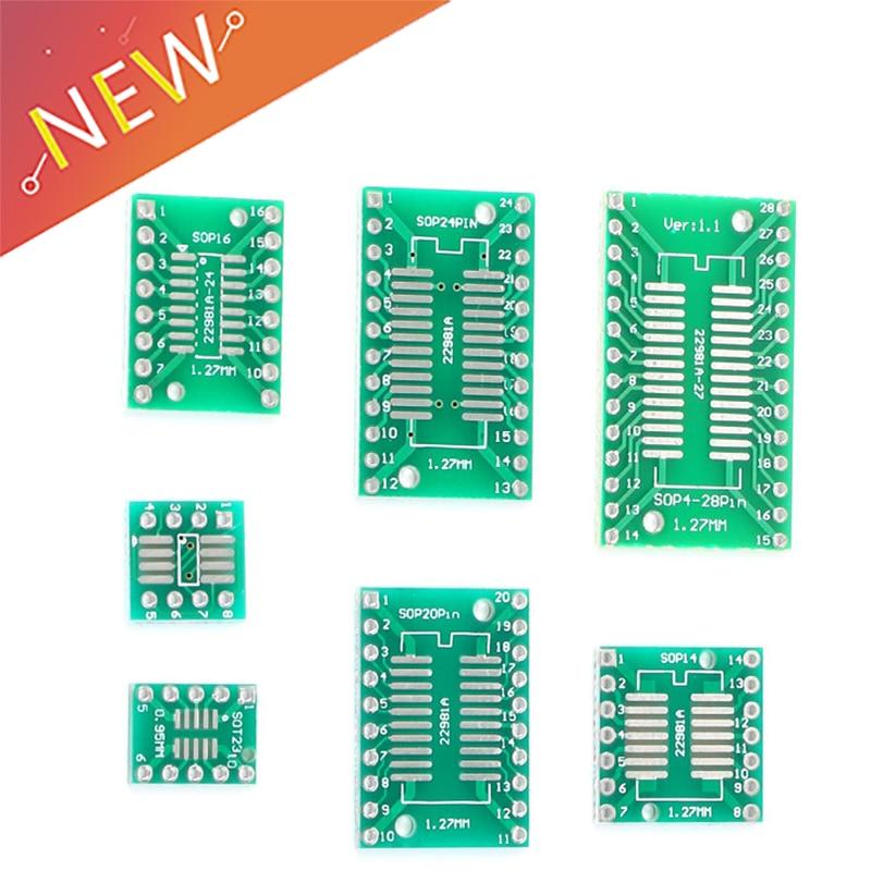 Kit de placas PCB 10 Uds., placa convertidora SMD vuelta A Adaptador DIP, SOP MSOP SSOP TSSOP SOT23 8 10 14 16 20 28 SMT A DIP
