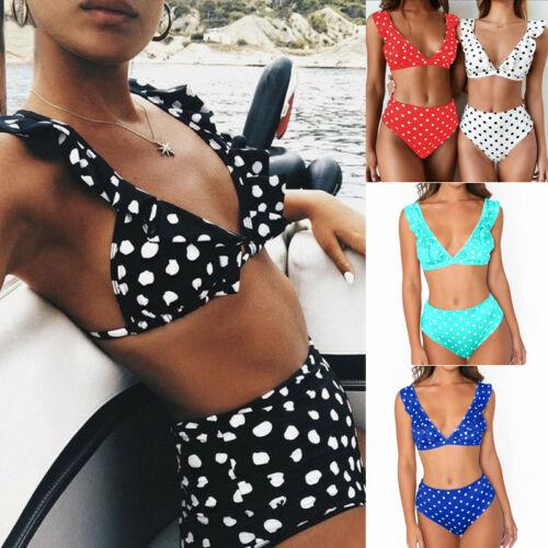 2Pcs Womens Push-up Bikini High Waisted Swimwear Swimsuit Monokini Bathing US
