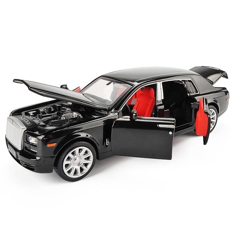 1/36 Rolls Royce Phantom aleación Diecast juguetes de modelo de coche de Metal Vehículo de juguete modelo negro de colección de Limousine extendida 6 puertas