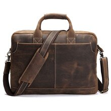 Vintage Crazy Horse cuir hommes porte-documents sac daffaires fourre-tout en cuir véritable 15.4