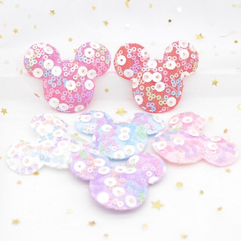 12 Uds 55*45mm Kawaii Mickey Mouse Appliques con lentejuelas bordados parches para ropa gorros para bebé horquilla banda decoración G32