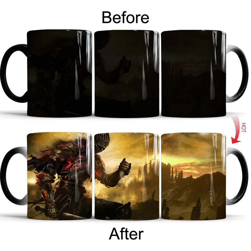 Taza que cambia de Color de las almas oscuras Taza sensible a la temperatura del calor frío caliente tazón taza de té de café