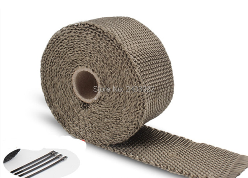 Grosor Universal 1,5mm ancho 50mm cabezal de escape fibra de vidrio aislamiento térmico envolver acero Zip lazos longitud 5 metros
