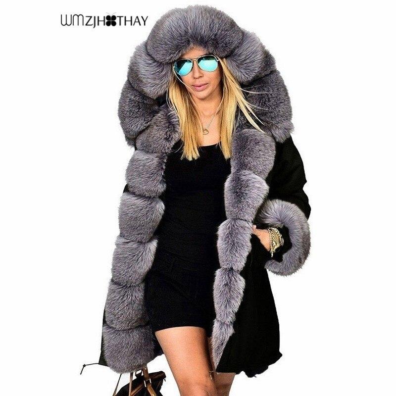 2019 nueva chaqueta de invierno de moda para mujeres abrigo cálido de lana de algodón Parkas largas con capucha imitación de piel de mapache prendas de abrigo