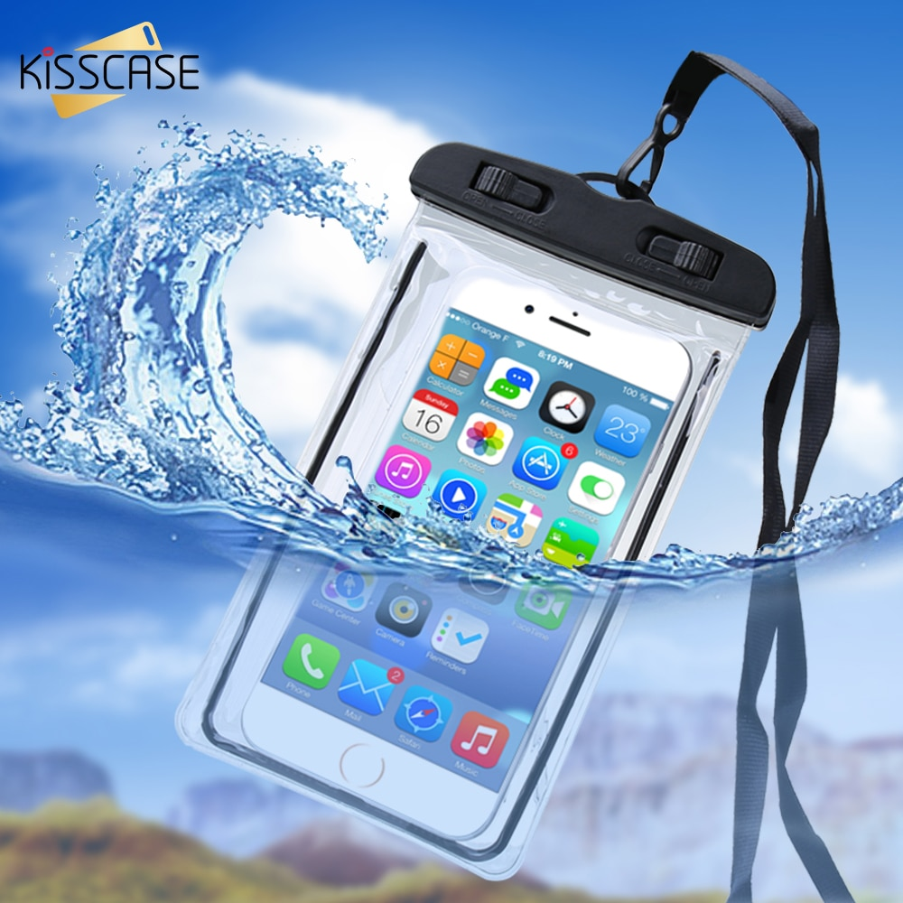 KISSCASE, funda de teléfono para Xiaomi móvil resistente al agua Redmi Note 7 6 Pro Mi 9 8 A2 Lite, funda subacuática luminosa, bolsa impermeable