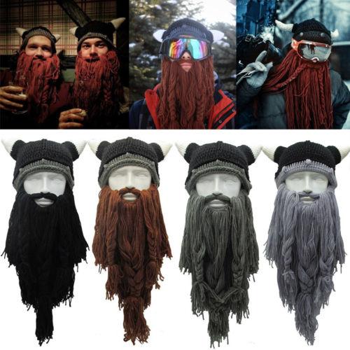 2019 Party Hat Barbarian Winter Crazy Ski Cap Viking Horn Hat Long Beard Beanie Funny Xmas Gift