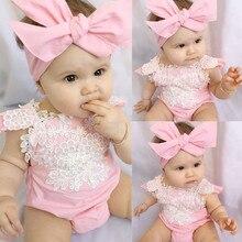 Princess Newborn Lace Ruffles Frilly Baby Girl Rompers Bebe Bodysuit+Headband Pink Leotard Tops Baby Clothing