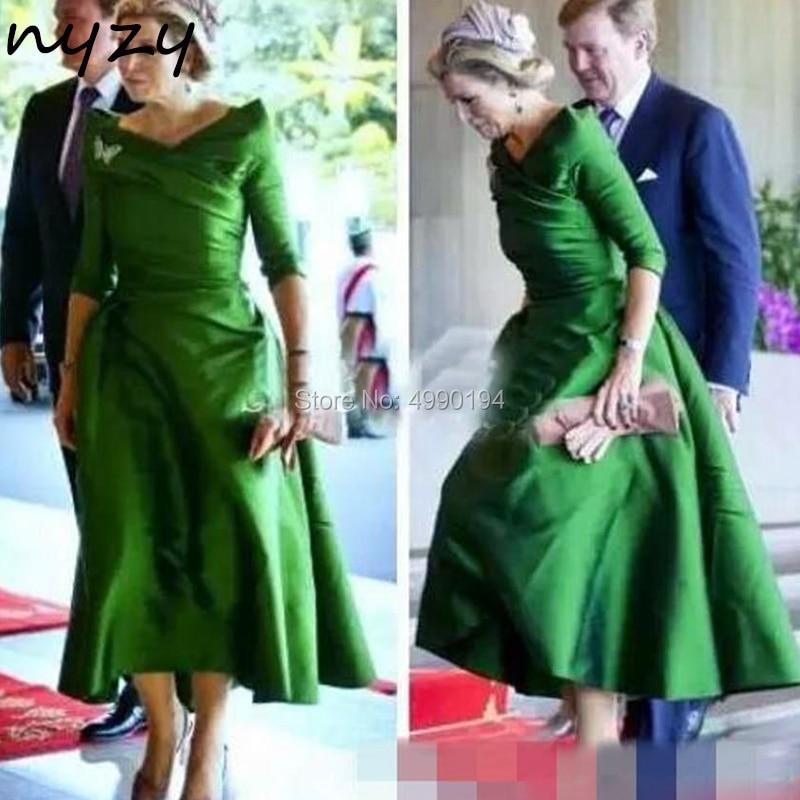 Платье для мамы и дочки NYZY M117, зеленое, сатиновое, Формальное, для свадебной вечеринки