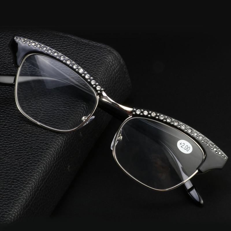 Zilead dame Katze Augen Lesebrille Frauen Kristall Presbyopie Gläser Hyperopie Eyeglasse + 1.0to + 3,5 Unisex