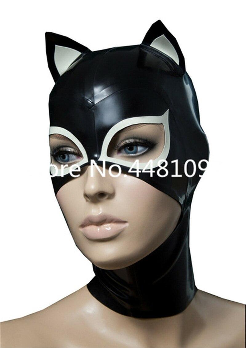Sexy Cat Woman full head latex mask rubber hood unisex fetish cosplay mask  orejas de conejo sexy michael myers mask custom made