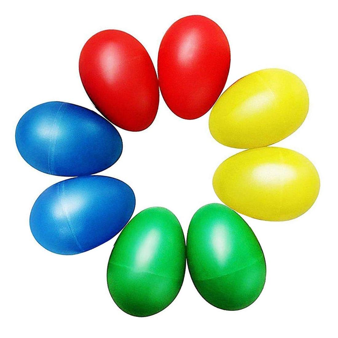 8 stücke Spielerische Kunststoff Percussion Musical Ei Maracas Ei Shaker Kinder Spielzeug-4 Verschiedenen Farben