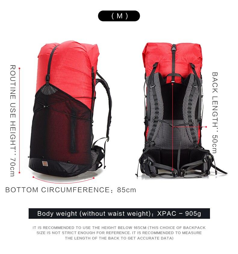 3F UL GEAR sac à dos GuiJi 55L pour Camping léger randonnée en plein air Trekking ultra-léger Packs imperméable hommes femmes