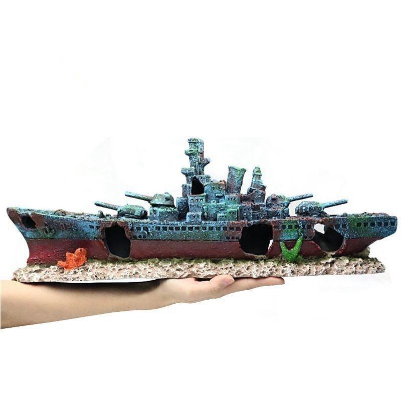 47*9.5*12 سنتيمتر البحرية سفينة حربية Batttle السفينة الراتنج قارب Aqaurium تانك الأسماك زينة زخرفية تحت الماء الخراب حطام المشهد a9154