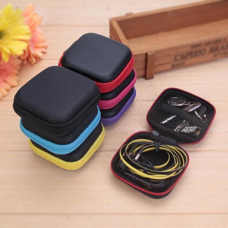 1 Uds cuadrado EVA/PU de almacenamiento caja de la caja para Auriculares auriculares tarjeta de memoria MP3 auriculares organizador de cables de datos de la Caja titular de la bolsa de envío gratis