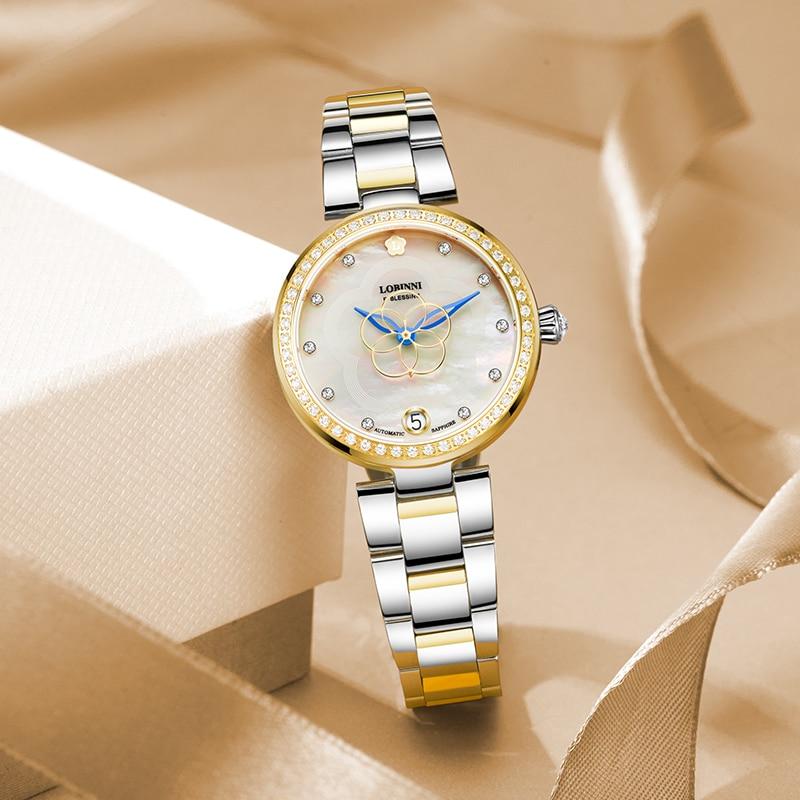 LOBINNI Luxury Brand SwitzerlandWomen Watches Japan MIYOTA Automatic Mechanical Clock Sapphire Diamond Ladies Watch L2008-5 enlarge