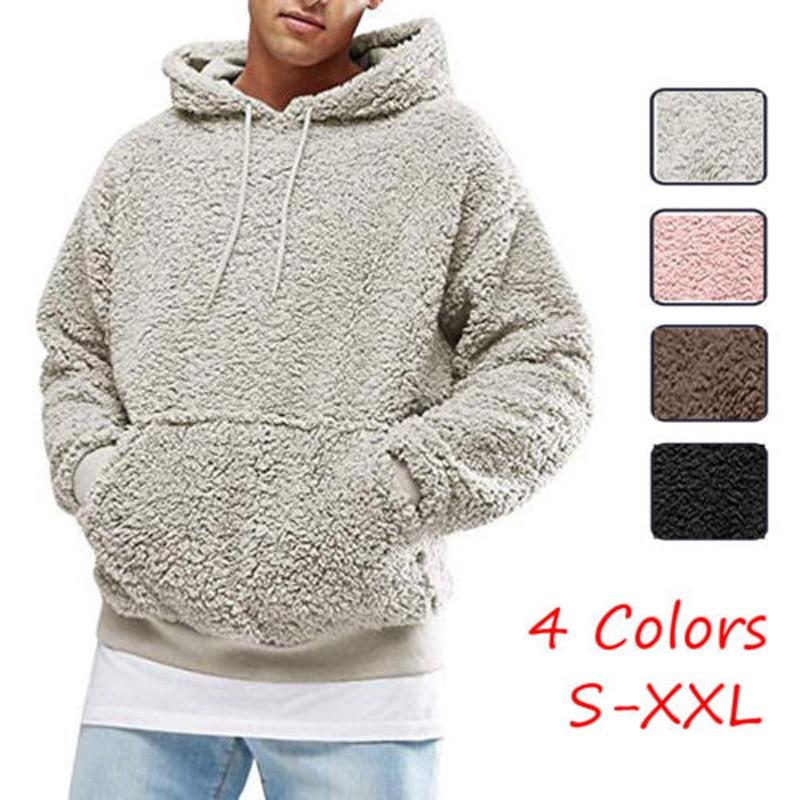 Nuevo estilo para hombre invierno cálido piel sintética oso de peluche sudadera sólida sudadera Casual con capucha