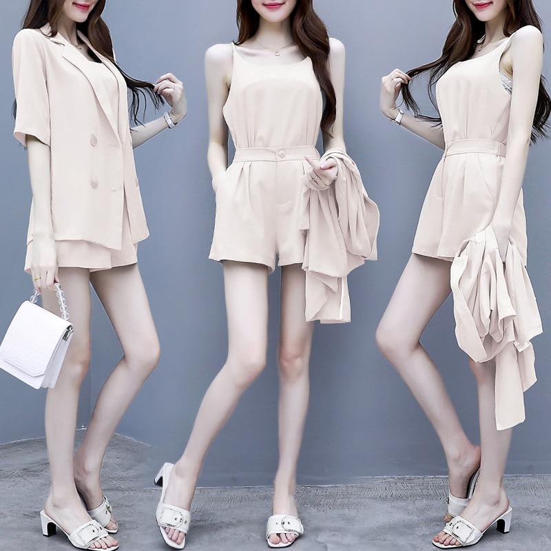 Women suit new female summer wear Korean fashion shorts vest coat three-piece clothing set outfit lady vestidos cute clothes