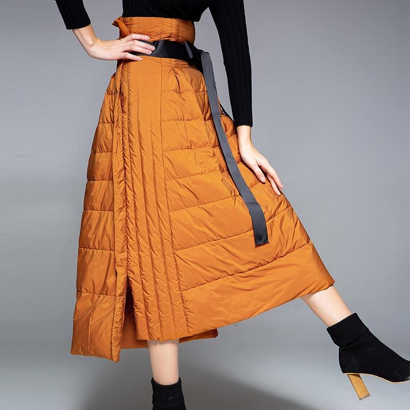 Зимние новые стильные пуховые юбки, однотонные трапециевидные юбки с завышенной талией, теплые пуховые юбки, женская модная облегающая Теп...