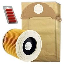 MMFC-5 X Wet & Dry IPX4 MV2 Bags & Filter For Karcher Vacuum Cleaner + Fresh
