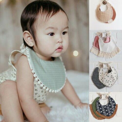 29 estilos   novo bebê recém-nascido da criança algodão babadores meninas rendas saliva toalha borlas bib alimentação burp panos