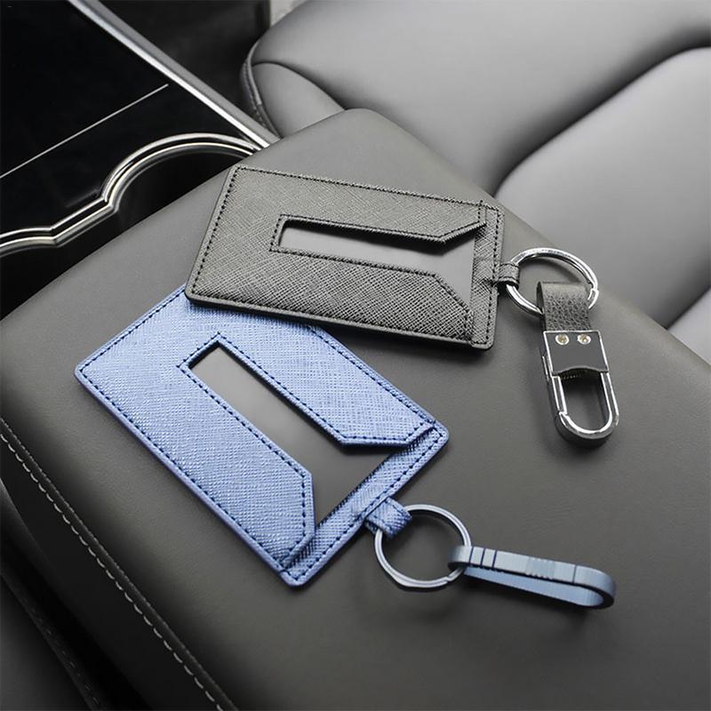 Leder Schlüssel Karte Halter Schutz Abdeckung Schlüssel Kette Für Tesla Modell 3 Schlüssel Fall Für Auto Schlüssel Fall