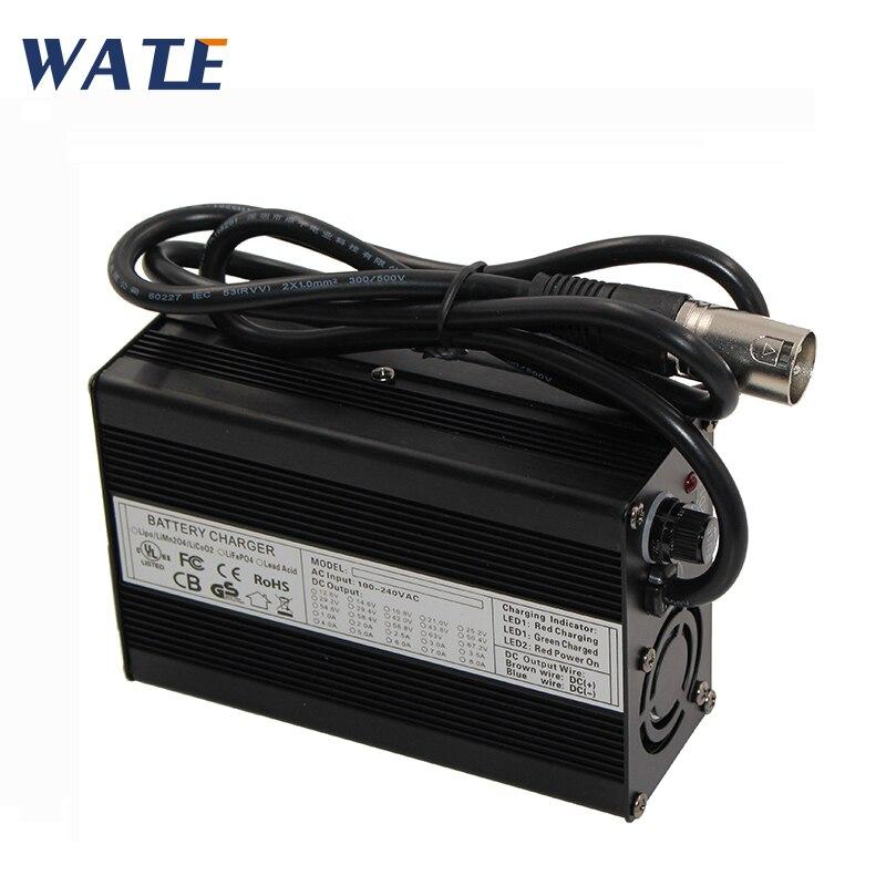 Cargador de batería de plomo y ácido 48V 3A cargador de motocicleta 55,2 V cargador de plomo y ácido con entrada de ventilador 100vc-240vac