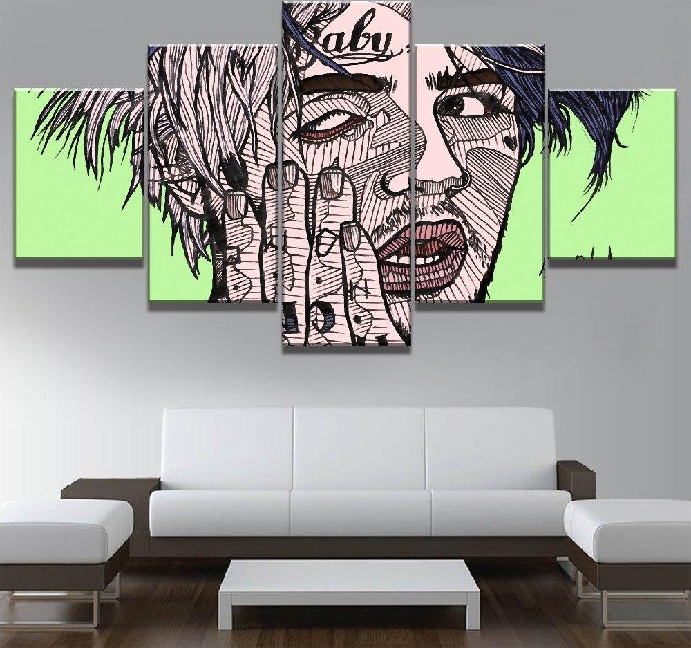 Modular 5 piezas de arte de lona Lil Peep cartel decorativo moderno pinturas sobre lienzo arte de pared para el hogar decoraciones de pared Decoración