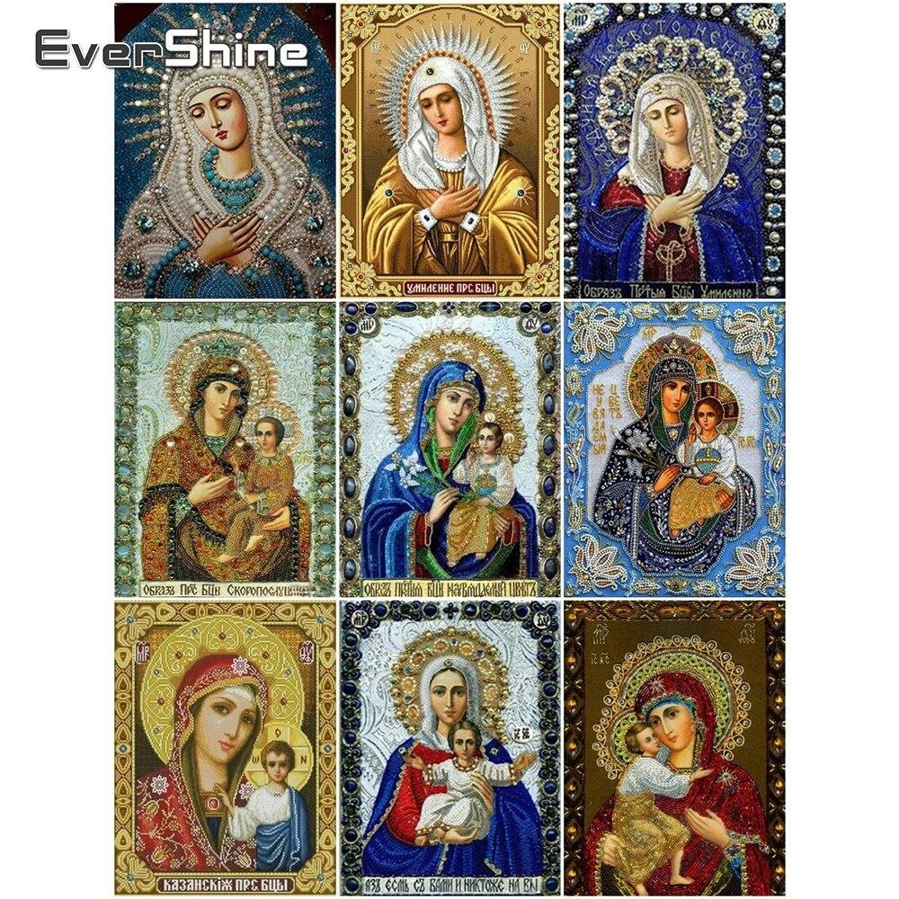 Cuadro de diamantes EverShine 5D con bordado de motivos religiosos con diseño de Madonna, mosaico de diamantes de imitación para decoración del hogar