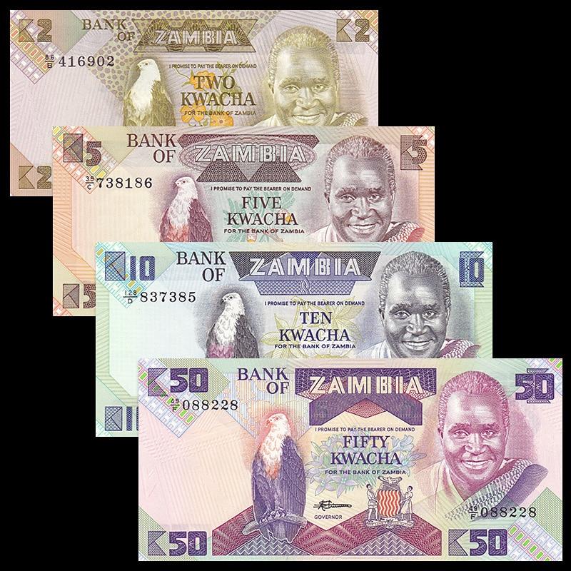 Zâmbia Definir 4 PCS Notas, 2 5 10 50 Kwacha, UNC, Uncirculated, Coleção África, notas de Papel Real Original