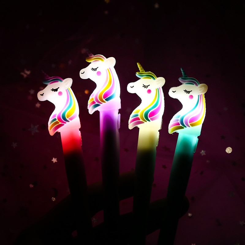 Bolígrafos de unicornio Kawaii, precioso bolígrafo de Gel de luz Led, novedad, plumas neutrales para niños, niñas, regalo, escuela, suministros de oficina, papelería creativa