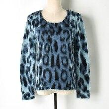 2019 primavera harajuku azul leopardo impressão camisola de malha pullovers runway designer manga longa feminino casual jumper roupas
