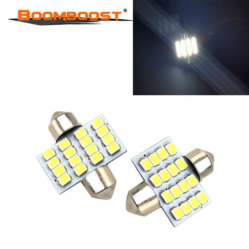 10 unidades de luces LED de festón blanco de 12V, 31mm, 16SMD, lámpara domo de lectura Interior para coche 3528 31MM de alta calidad
