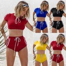 2Pcs Fashion Sports Women Ladies Summer Beach Swimwear Stripe Sport Bra Bikini Swimsuit Bathing Suit Biquini Beach Wear
